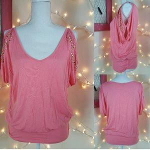 EUC! Peachy Pink Cold Shoulder Gold Studded Top